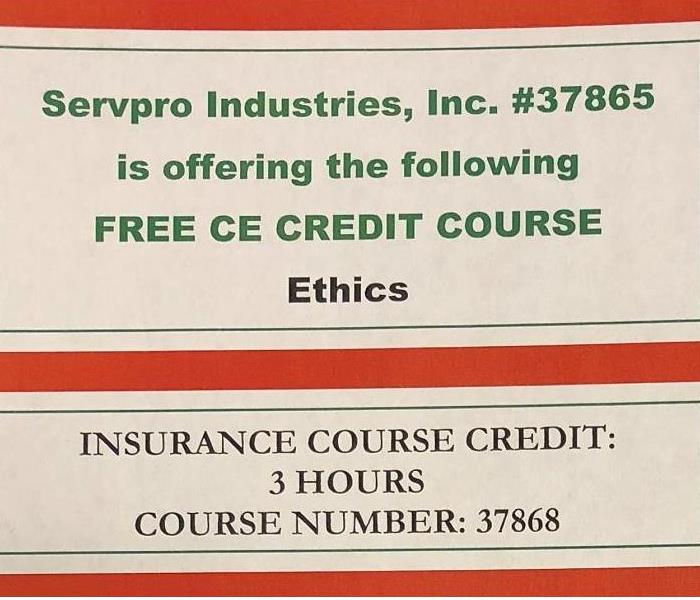 Water Damage SERVPRO OF BOONE COUNTY TO OFFER CONTINUING EDUCATION COURSE