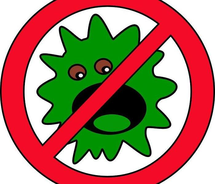 Green germ with red stop symbol