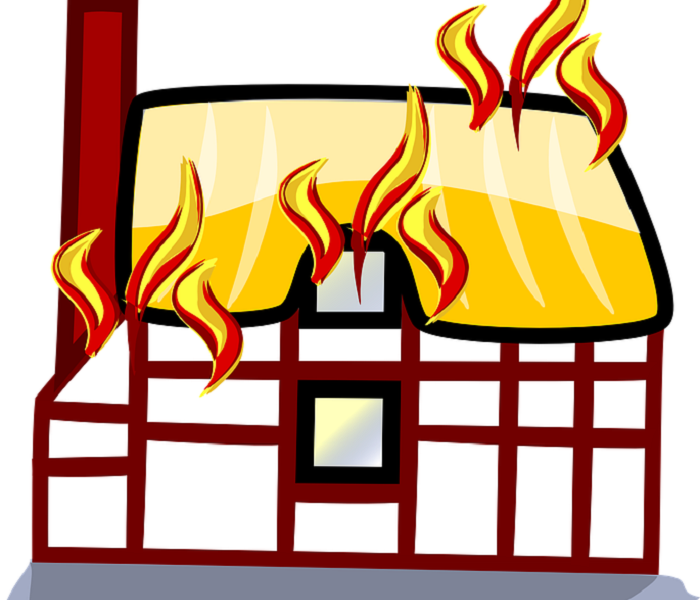Cartoon drawing of a house on fire.
