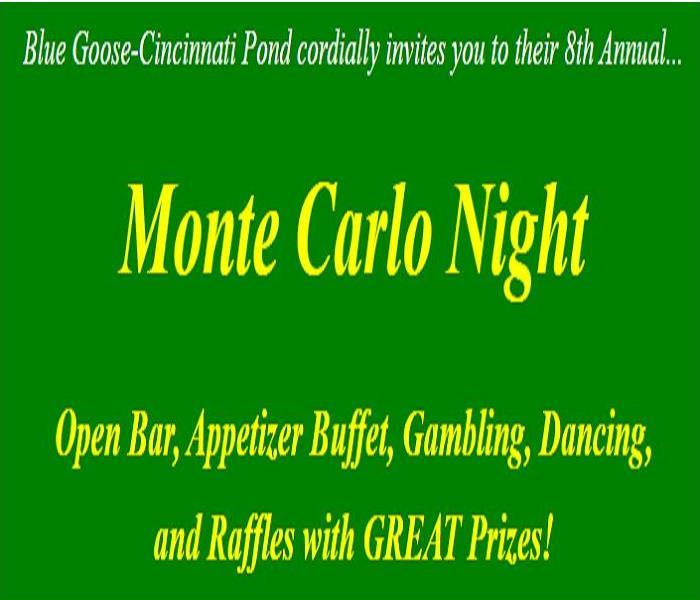 Green background with Monte Carlo Night written in yellow script.